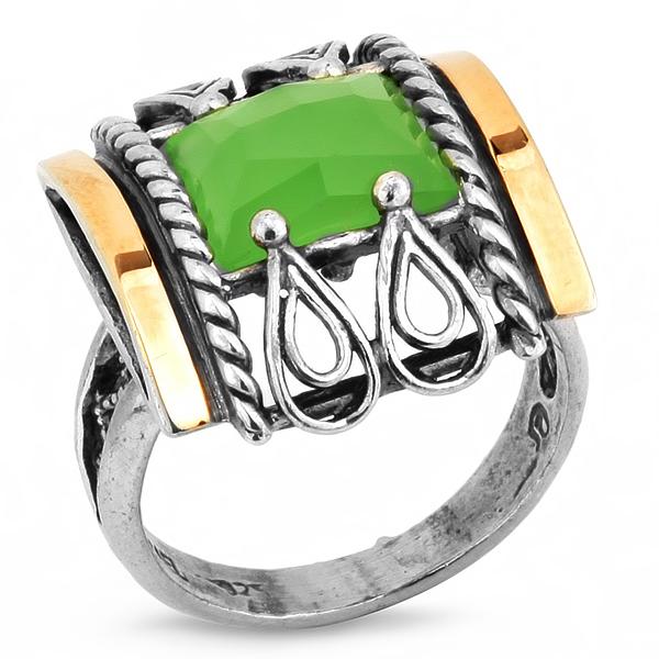 Купить Серебряное кольцо Yaffo с золотом и кварцем SAR248