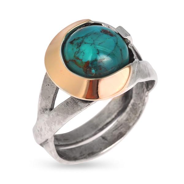 Купить Серебряное кольцо Yaffo с с бирюзой и золотом SAR646
