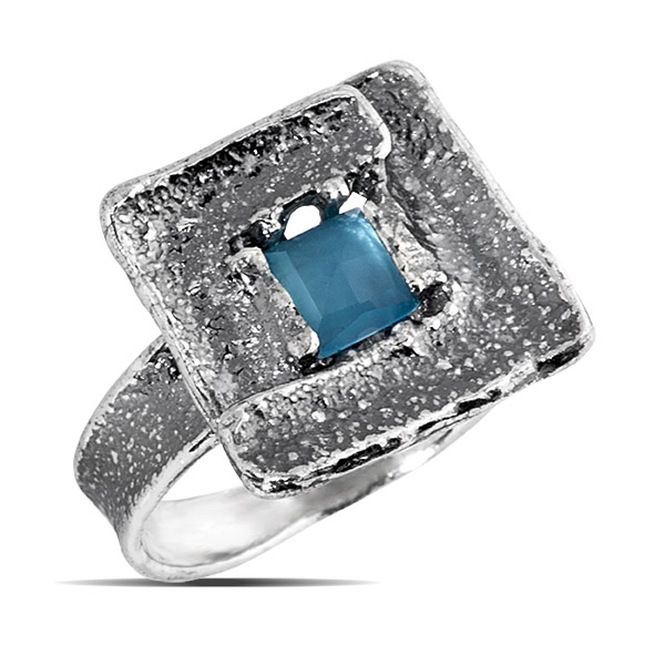 Купить Серебряное кольцо Yaffo с голубым кварцем SAR794