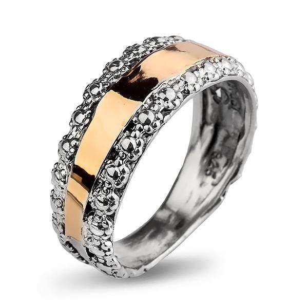 Купить Серебряное кольцо Yaffo с золотом SAR809