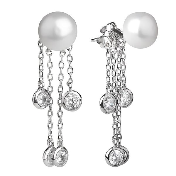 Купить со скидкой Серебряные серьги De Luna с жемчугом и  фианитом SGE391