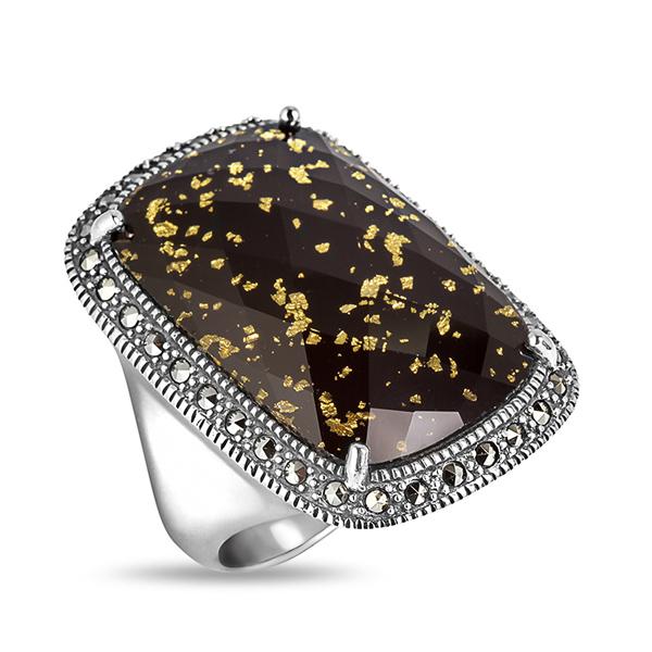 Купить Серебряное кольцо с ониксом, горным хрусталем, сусальным золотом и марказитами Swarovski TJR193, ALEXANDRE VASSILIEV