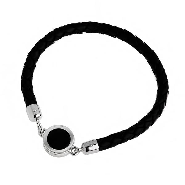 Купить со скидкой Мужской кожаный браслет с серебром и агатом WPB023