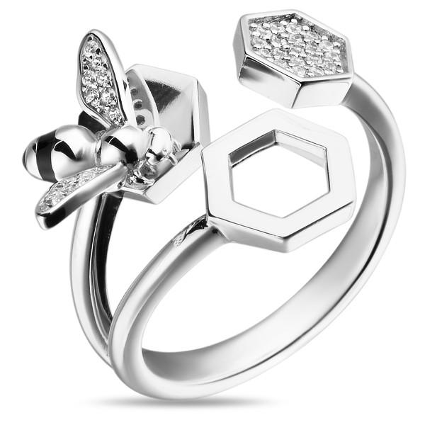 Фото #1: Серебряное кольцо Sandara Ice с фианитами и эмалью XCR017