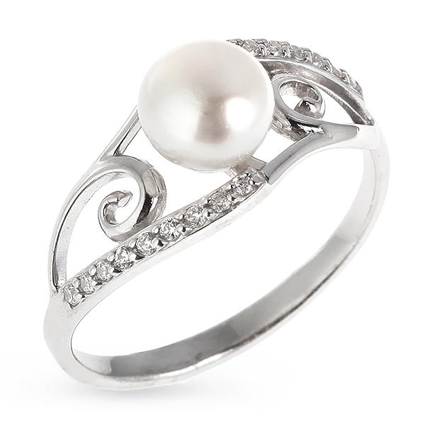 Купить Серебряное кольцо с жемчугом и фианитами Z1-8956, De Luna